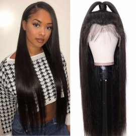 Silky And Soft Straight Human Hair 360 Lace Front Wig Natural Hairline Long Straight Lace Front Wig