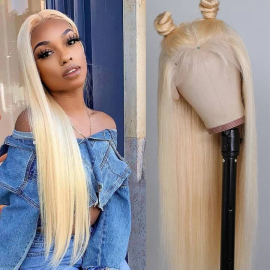 613 Blonde Hair 13x4 and 13x6 Lace Front Wigs Human Straight Human Hair Pre-Plucked Natural Hairline