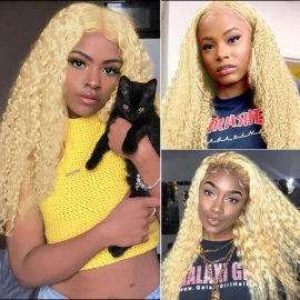 Blonde 13x4 Lace Front Wig Deep Wave Human Hair Wig #613 Lace Wig For Women