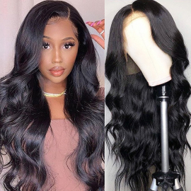 Human Hair Long Body Wave 13x6 Lace Front Wig Pre Plucked Virgin Hair Body Wave Wig With Baby Hair