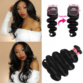 Virgin Body Wave Hair 3BundlesWith 6x6 Pre Plucked Lace Closure