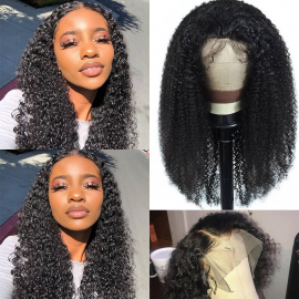Best Value 4x4 Closure Lace Wig Kinky Curly Lace Closure Wig Human Kinky Curly Hair