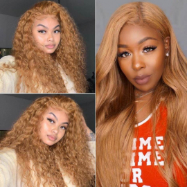 Honey Blonde #27 Colored 13x4 Lace Wig 100% Virgin Human Hair Wigs With Baby Hair