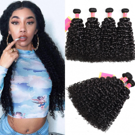 Jerry Curly Hair Natural Black 4bundles 100% Virgin Curly Hair Weave Products