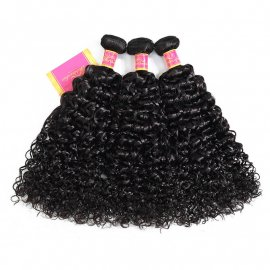 Brazilian 3pcs/pack Jerry Curly Hair Weft Virgin Natural Color Curly Weave Bundles