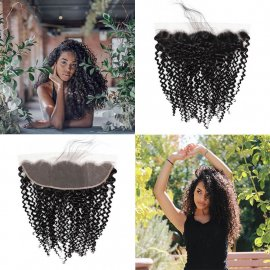 Best Remy Kinky Curly Hair 13x4 Ear To Ear Lace Frontal Closure Free Part Bleached Knots