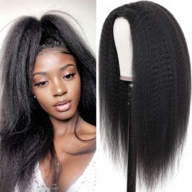 Realistic Hairline Natural Black Full Lace Wig Kinky Straight Wigs Pre Plucked Natural Hairline Full Lace Human Hair Wig