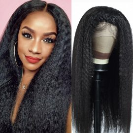 13x4 and 13x6 Undetectable Silk Base Kinky Straight Lace Frontal Human Hair Wig Bleached Knots With Baby Hair