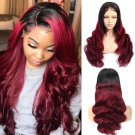 1B/99J Human Hair Wig 180% Density Ombre Burgundy Lace Front Wigs With Baby Hair