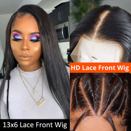 Straight 13x6 HD Lace Front Wig With Baby Hair Human Hair Wigs 150%-180% Density