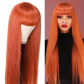 Long Straight Human Hair Wigs With Bangs Ginger Color Machine Made Wigs