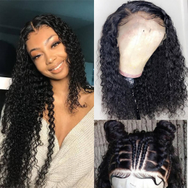 Transparent 13x6 and 13x4 Deep Curly Human Hair Lace Front Wigs Pre Plucked Natural Hairline Virgin Curly Hair Wig