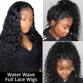 Water Wave Full Lace Wigs High Density Glueless Human Hair Wigs For Sale