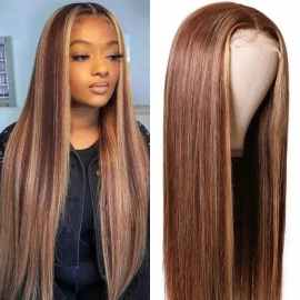Honey Blonde Highlight Color Straight Hair Lace Closure Wigs #427 Human Hair Wigs