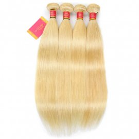 4PCS 613 Blonde Hair Weave Bundles 12-24 Inch Straight Virgin Human Hair