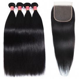 Human Hair Straight 4Bundles With 6x6 Lace Closure Remy Straight Hair Weave Closure With Bundles