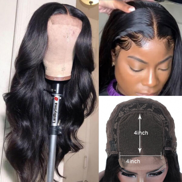 Pre Plucked Body Wave 4x4 Human Hair Lace Wig With Baby Hair On Sale