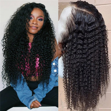 Pre Plucked Human Hair Kinky Curly 13x4 and 13x6 Silk Base Lace Front Wig High Density