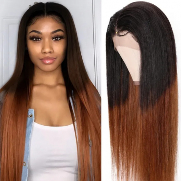 Omber Straight Human Hair Wig 13x4 Lace Front Wig With Color T1B/4