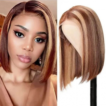 Ombre Highlight Short Bob Straight Lace Front Wigs Remy Human Hair Wigs 150%-180% Density