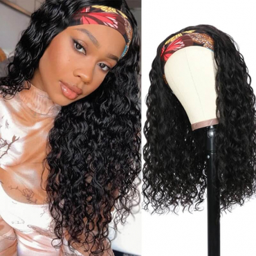Headband Wig Water Wave Glueless Human Hair Wig No Plucking Wigs For Women Natural Color 150% Density
